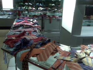 The tie department-- strewn about--but some were $1.50!