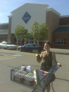 Guess who used her free Sam's Club one-day-pass yesterday? As you can see, the cart, not too full...practiced self-restraint. :)