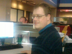 This is our web guy that sits near me (Mahoney's in the background.) who I pester about getting my blog link changed.  Hope this makes things easier for all of you!