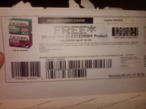 How easy is that?  A coupon for *free* Excedrin, up to $5.99. Usually it takes a few weeks to these coupons to arrive, but in our case, it took just over one week!