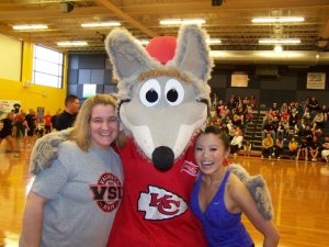 Me, KC Wolf and Robbyn, the AM Exec Producer @ KCTV.  We're at a charity dodge ball tourney from over the weekend benefiting the KCPD.  Robbyn and I are friends and dodgeball brings rival newsrooms togehter for a good cause :)