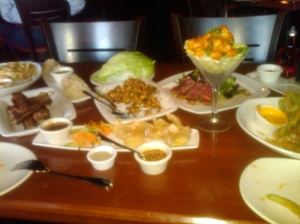 You know when you're absolutely starving and arrive at the restaurant, and want to order everything off the menu?  This was the sprea my fiance and I ordered at PF Changs on Friday.  It was happy hour so the items were only about $3 or $4 each.  My goodness...it was delicious, and we had leftovers for the entire weekend!