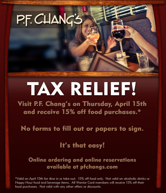 Dion's TAX DAY Deal: 15% Off @ PF Changs!